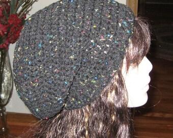 Black Fleck Slouchy Beanie Dread Hat
