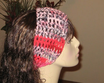 Dread Headband Red, Black, White and Pink