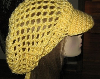 Bright Yellow Billed Slouchy Beanie Dread Hat