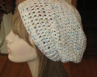 Slouchy Beanie Dread Tam Hat in Soft White Fleck