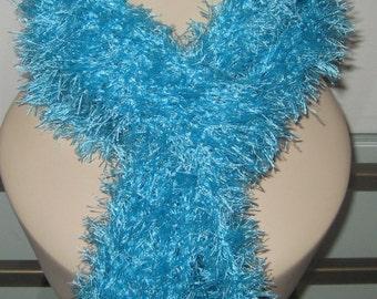 Crochet Turquoise Eyelash Scarf