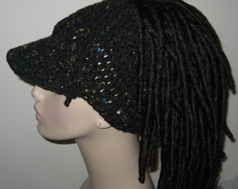Billed Dreadband Hat Black Fleck