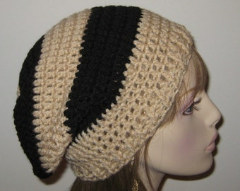 Slouchy Beanie Crochet Hat in Buff and Black