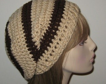 Slouchy Beanie Dread Tam in Buff and Chocolate