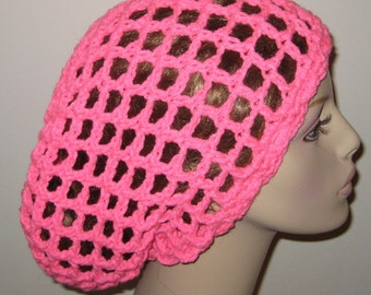 Bright Pink Slouchy Beanie Mesh Tam Snood Crochet Hat