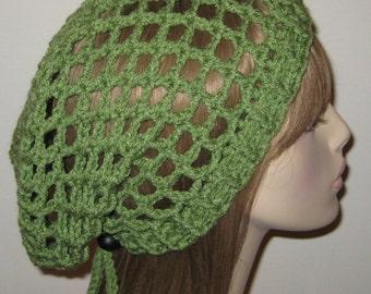 Tea Leaf Green Mesh Slouchy Beanie Dread Tam Snood Crochet Hat