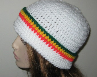 Sale White with Rasta Stripes Cuffed Beanie Hat Winter Hat