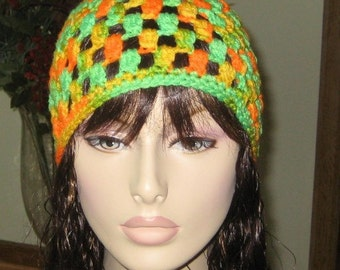 Half Off Bright Green, Orange and Yellow Beanie