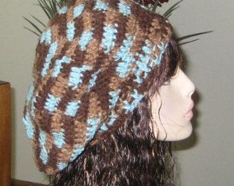 Earthy Slouchy Dread Beret Tam Crochet Hat