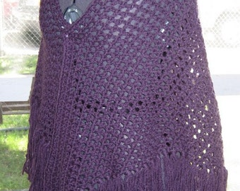 Plum Shawl Crocheted Shawl