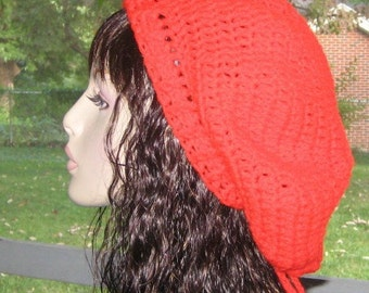 Sale Red Dread Slouchy Beret Tam