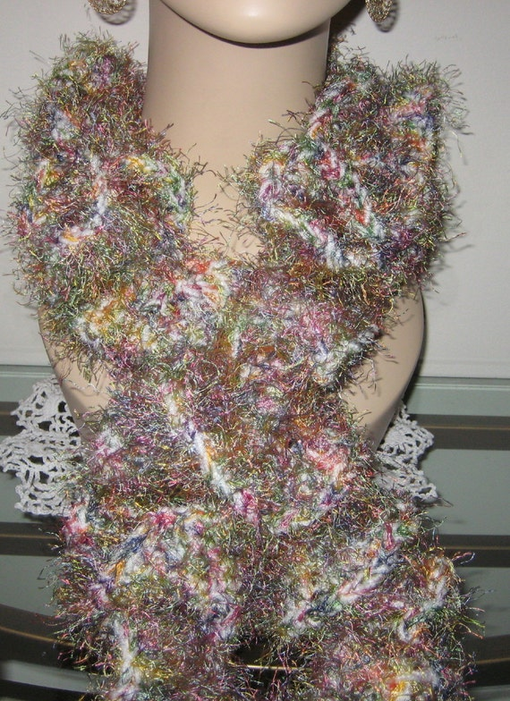 Eyelash Yarn : Crochet Ruffle Scarf with Eyelash yarn by DeniseBlack on Etsy