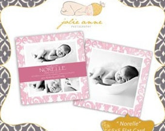 Norella 5x5 Double Sided Card or Baby Announcement