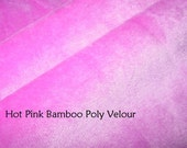 SALE 2 yds Hot Pink Bamboo Poly Velour knit stretch fabric by the yard Eco Friendly Many yards available 59 inches wide