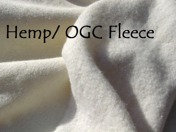 SALE HEMP Organic cotton fleece fabric Unbleached knit by the yard 64 inches wide