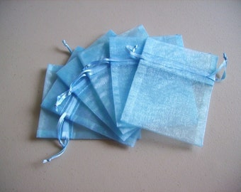 30 - 3 x 4 Light Blue Organza Bags - Great for wedding favors, sachets, jewelry, etc.