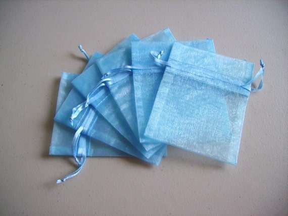 60 - 3 x 4 Light Blue Organza Bags - Great for wedding favors, sachets, jewelry, etc.