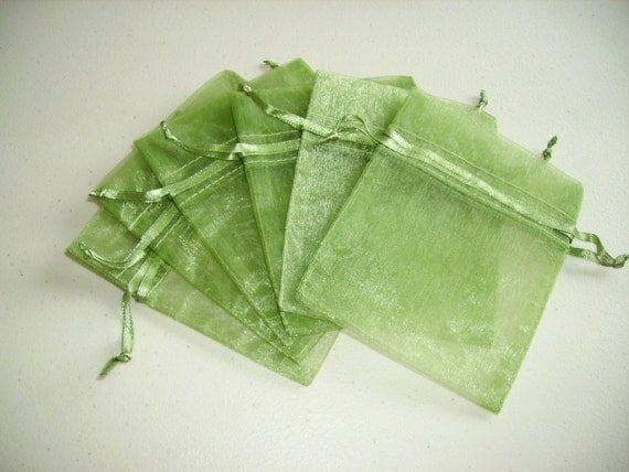 50 - 3 x 4 Moss Green Organza Bags  - Great for wedding favors, sachets, jewelry, etc.