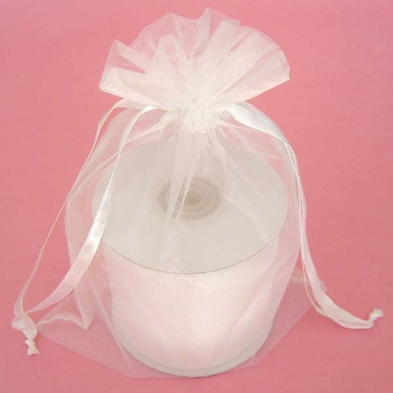 10 - 6 x 9 White Organza Bags - Great for wedding favors, sachets, jewelry, etc.