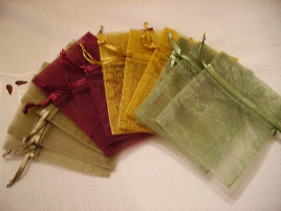 100 Organza Bags - Burgundy, Gold, Moss Green, Old Willow - 3 x 4