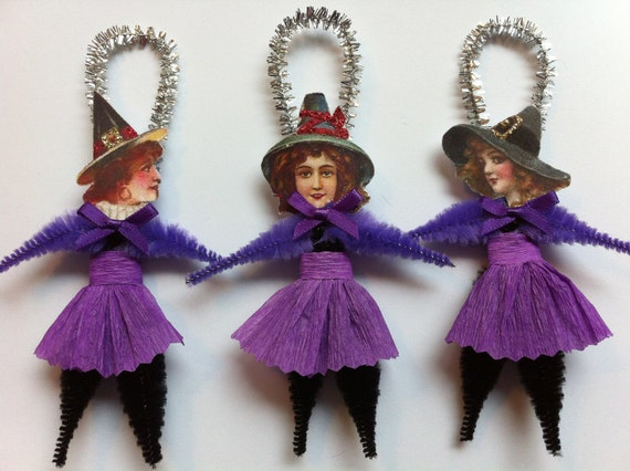 Halloween pretty WITCHES in purple vintage style chenille WITCH ORNAMENTS set of 3
