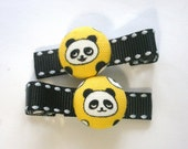 PANDAS...................2 button hair clips