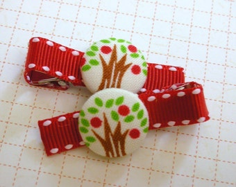 Red Apple TREE..........Button Hair Clips