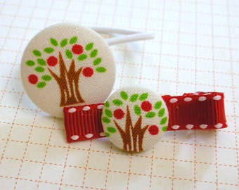 Red Apple TREE hair clip and ponytail holder set