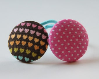 Dots and Hearts  2 PONYTAIL HOLDERS