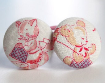 Vintage Bear and Kitty PONYTAIL HOLDERS