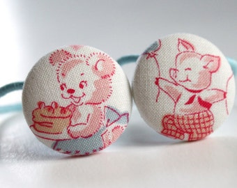 Vintage Bear and Pig PONYTAIL HOLDERS