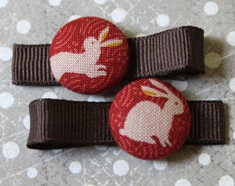 Japanese Rabbits.....................2 button hair clips