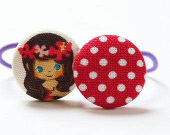 Hawaiian Princess and Dots-------2 ponytail holders