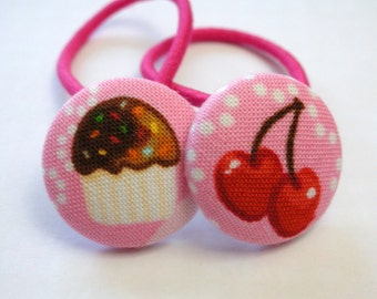 Cupcakes and Cherries.......2 PONYTAIL HOLDERS