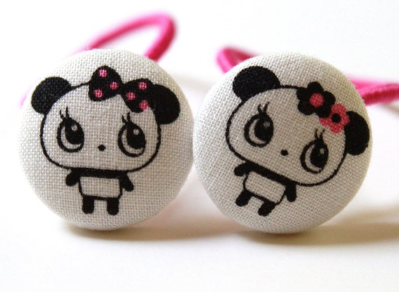 Lovely Pandas-------2 Ponytail Holders