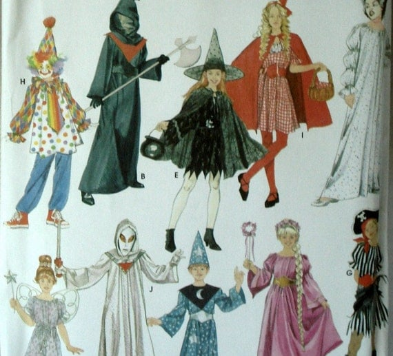 Kids Halloween Costume Pattern Simplicity 3617 Princess Ninja Pirate Fairy Sizes S M L