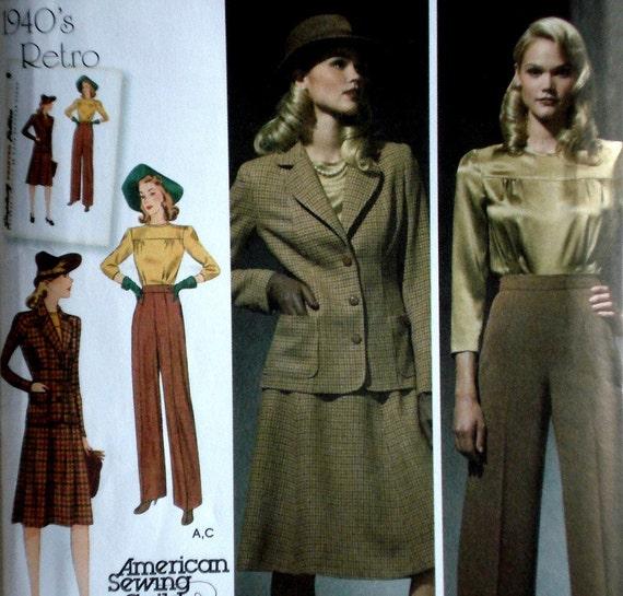 Retro 1940s Style Suit Pattern Simplicity 3688 Size 10 12 14 16 18