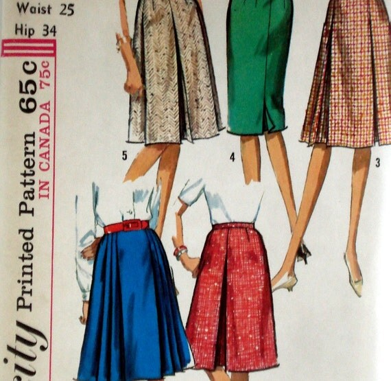 Vintage 1960s Pleated Skirt Pattern Simplicity 5884 Waist 25