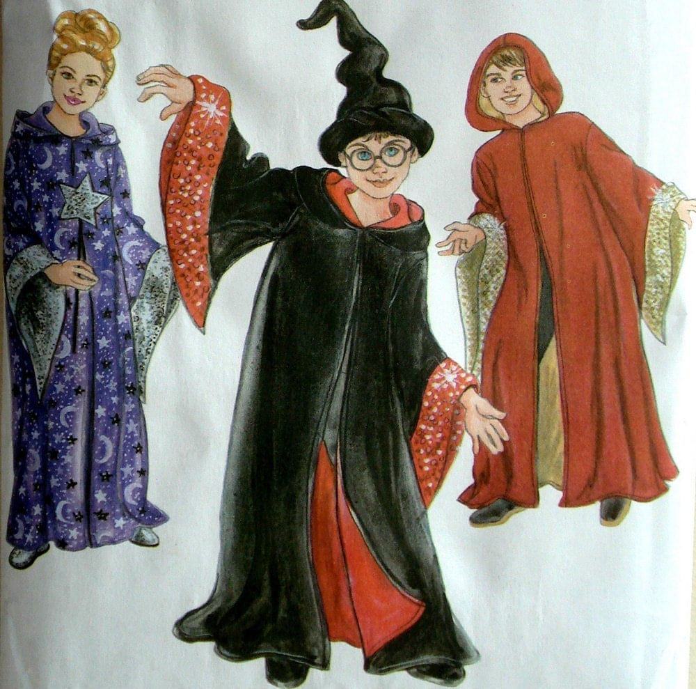 Robe And Wizard Hat: Kids Wizard Robe & Hat Pattern Simplicity 3597 Size 7 8 10