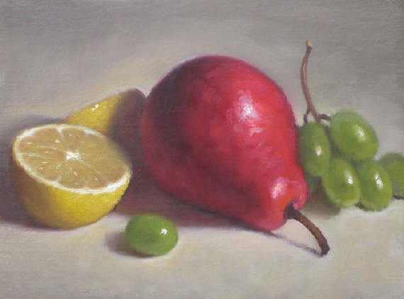 Pear and Lemon, Still Life Oil Painting