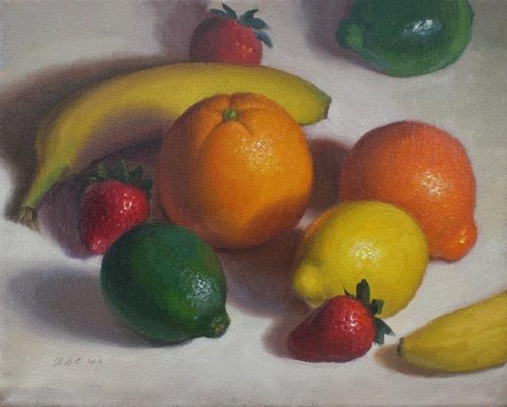 Citrus, Strawberries and Bananas Still LIfe Painting 8x10