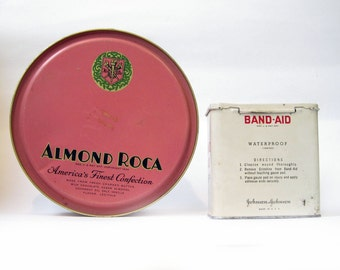 Vintage Almond Roca and Band Aid tins