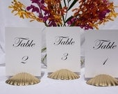 Beach Wedding + Table Number Holder + Gold Scallop Shell Table Number Holders-Set of 10 w/FREE SHIPPING