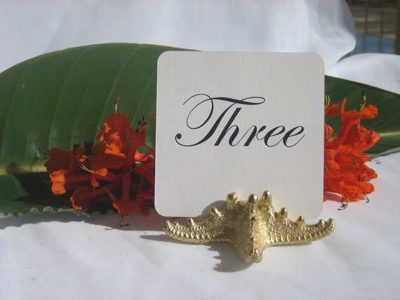 Gold Starfish Table Number Holders - Set of 25  RESERVED