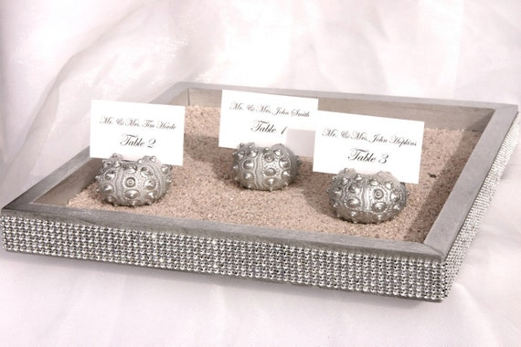 SAMPLE ITEM -14 x 14 Silver Wedding Sand box tray trimmed with a crystal wrap (only 1 available)