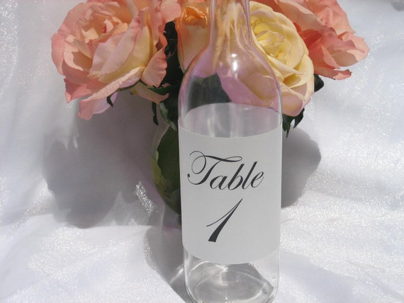 ON Sale-Wine Bottle Table Number Metallic White Vellum Wrap- Set of 10