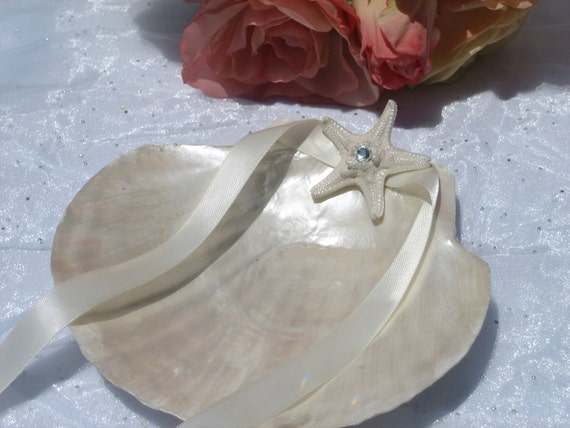 Large Pearlized Scallop Ring Bearer Shell accented with small starfish, swarovski crystal and ivory Ribbon-