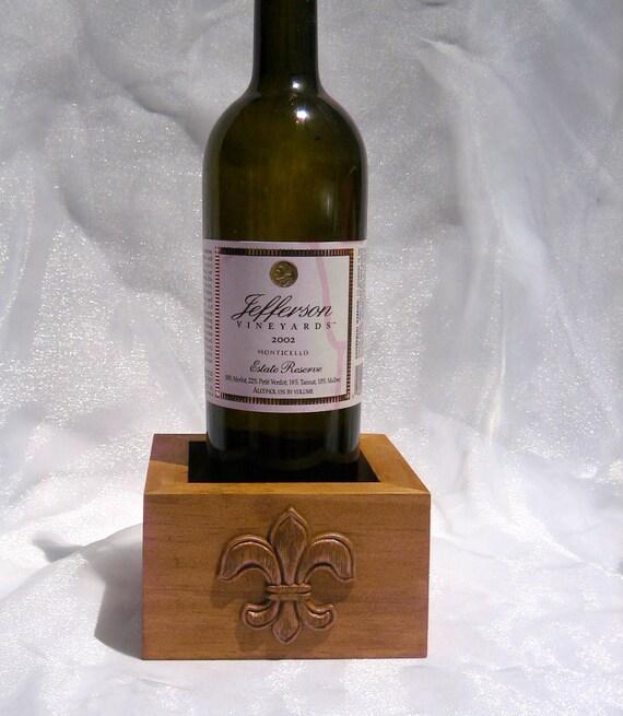 Fleur De Lis embellished Rustic Wedding Wood Wine Bottle Box/Coaster