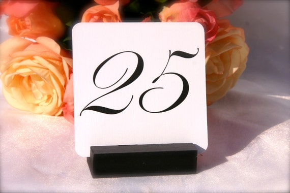Black Wood Table Number Holders- Set of 10