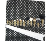Makeup Brush Organizer Holder Case, Polka Dot, Black and White - In Stock Ready To Ship